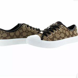 Coach Women's Empire Outline Signature Canvas Khaki / Chestnut shoes sneaker 8